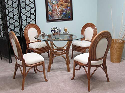 - kingrattan.com Fruitwood Emerald Rattan Dining Furniture 5 Piece Set