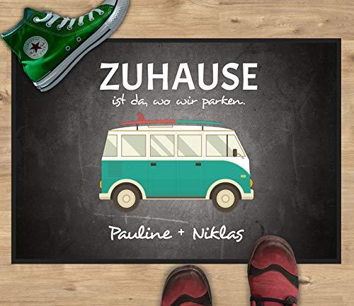 51JT7mid%2BNL Werbetreff Gera Fußmatte mit Name Bus Camper Abenteuer (50 x 35 cm)