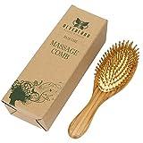 Neverland Beauty 100% Natural Bamboo Hair Brush Detangling Massage Anti-Static Hair Comb Wooden Bristle Cushioned Organic Hairbrush
