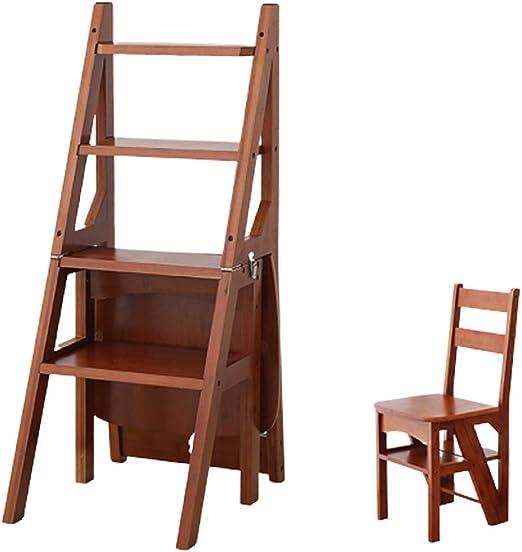 Silla de escalera multifunción de 4 peldaños para escaleras, escaleras, escaleras de bambú, escaleras movibles, para casa, cocina, taburete, taburete plegable, estante de flores (3 colores): Amazon.es: Juguetes y juegos