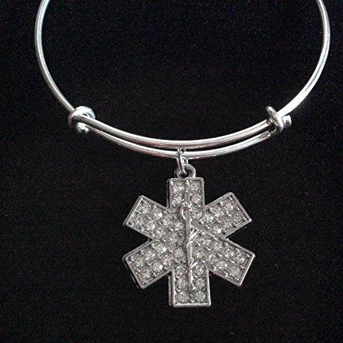 EMT Paramedic EMS Medical Crystal Charm Bracelet