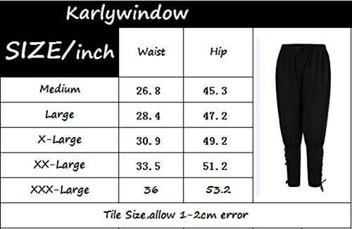 728842db2c66 Karlywindow Men's Ankle Banded Pants Tie Medieval Viking Navigator Trousers  Renaissance Pants Black