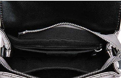 SAIERLONG Neues Damen Silber Grau Rindleder-Echtes Leder Damen Handtaschen Schultertaschen Rotwein 9rC0DmJ85