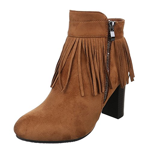 Ital-Design High Heel Stiefeletten Damenschuhe Schlupfstiefel Pump Moderne Reißverschluss Stiefeletten Camel K-50
