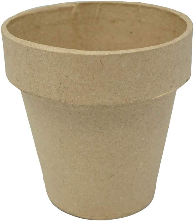 Homeford Mini Paper Mache Clay Pot, Natural, 4-Inch
