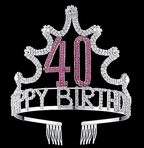 BABEYOND Crystal Rhinestone Tiara Headband Happy Birthday Crown Comb Pin 18/21/30/40/50/60th (40th) - Princess Crown Water
