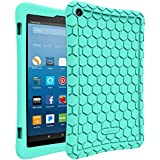 Fintie Silicone Case for All-New Amazon Fire HD 8 (Compatible with 7th and 8th Generation Tablets, 2017 and 2018 Releases) - Honey Comb [Corner Enhancement] Shockproof Kid Friendly Cover, Turquoise