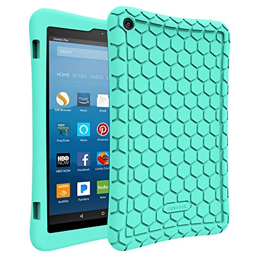 Fintie-Silicone-Case-for-All-New-Amazon-Fire-HD-8-Tablet-7th-Generation-2017-Release---Honey-Comb-Upgraded-Version-Kid-Friendly-Light-Weight-Anti-Slip-Shock-Proof-Protective-Cover-Turquoise