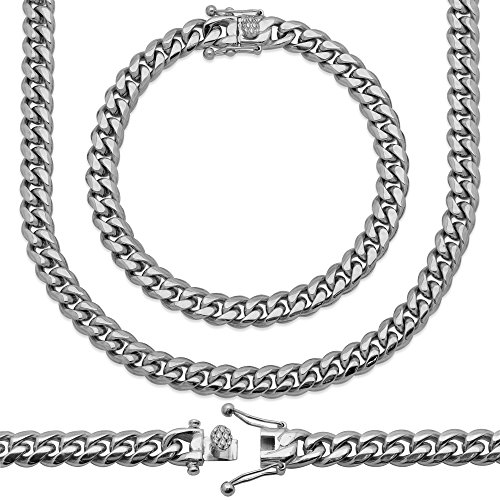 Sterling Manufacturers Premium Hand Polished Stainless Steel Heavy Solid Miami Cuban Link Chain with Secure Box Lock. Available in Widths 6MM, 8MM, 10MM, 12MM, 14MM, 18MM (9.00, 8MM)