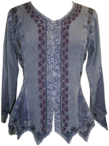 Agan Traders Womens Short Sleeve Embroidered Medieval Vintage Renaissance Top Blouse