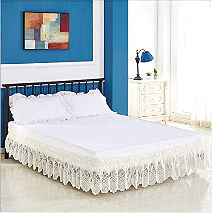 White,Twin RONGKIM TPSAADE Lace Trimmed Elastic Bed Wrap Easy Fit Around Dust Ruffle Bedskirt Twin//Full//Queen//King//CK Size
