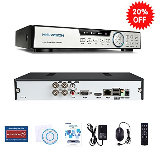Advanced Dvr - HISVISION 4CH 1080N Hybrid 5-in-1 AHD DVR (1080P NVR+1080N AHD+960H Analog+TVI+CVI) CCTV Quick QR Code Scan/Easy Remote View/Motion Detection Email Alerts Home Security Surveillance System (No HDD)