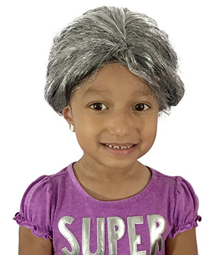 Old Lady Hair Costume (KINREX Old Lady Wig - Grandma Wig - Wigs for Adults, Teens and Kids - Gray Wig)