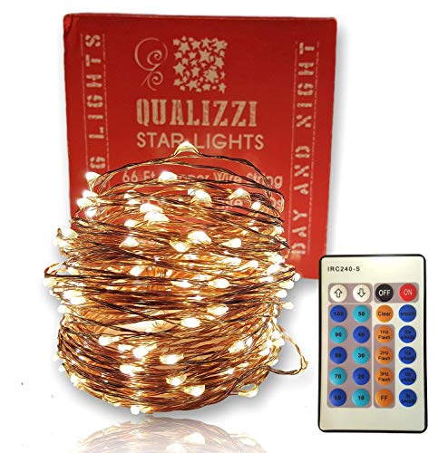 Forest Enchanted Decor (Qualizzi Starry Lights with Remote Control/Dimmable (66 Feet/200 LEDs). Very Pretty Bright Fairy Light Effects on Led Copper Wire String Lightings. Enjoy Magic Decorative Garlands All Year Around)