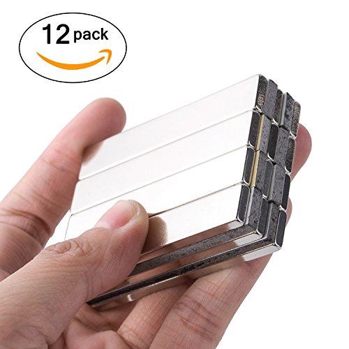 Powerful Neodymium Bar Magnets, N52 Rare-Earth Metal Neodymium Magnet for DIY, Craft - 60 x 10 x 3 mm, Pack of 12 by X L XLMAGNET (Image #1)