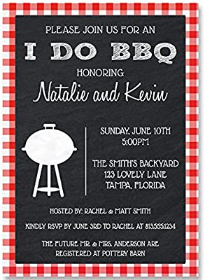 wedding shower invitations couples bridal i do bbq barbeque red gingham grill cook out picnic bonfire retro chalkboard set of 10 custom printed