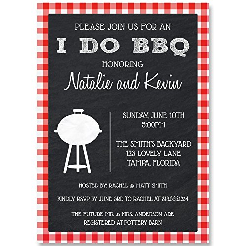 (I Do BBQ Bridal Shower Invitations Barbecue Wedding Party Invites Rehearsal Dinner Picnic Couples Gingham Grill Cook Out Chalkboard Plaid Red Black Bachelor Bachelorette Summer Pool Blowout (10 count))