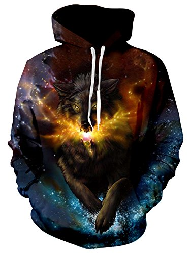 TUONROAD Men's 3D Digital Printing Hoodies Tshirt Led Light Running Wolf Aurora Galaxy Athletic Big and Tall Hooded Pull Over Sweatshirts for College Juniors School Sport Gym Basketball Baseball