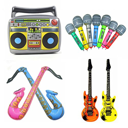 Inflatable Rock Star Toy Set, 7 Pack Inflatable