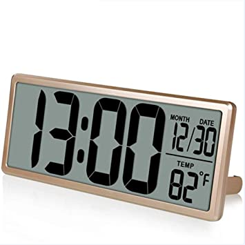 ... Visión Reloj De Pared Digital, Jumbo Despertador, Pantalla LCD Alarma Snooze Calendario Interior Temperatura Oficina Decoración,Gold: Amazon.es: Hogar