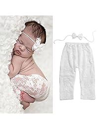 Baby Pants Headband Newborn Girls Long Leggings Bowknot Headband Outfits Lace Soft