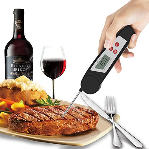 Digital Meat Thermometers Instant Read Thermometer Cooking Thermometer IPX55 Waterproof Food Thermometer With LCD Display and Foldable Probe For BBQ, Kitchen, Barbecue, Grill Smoker