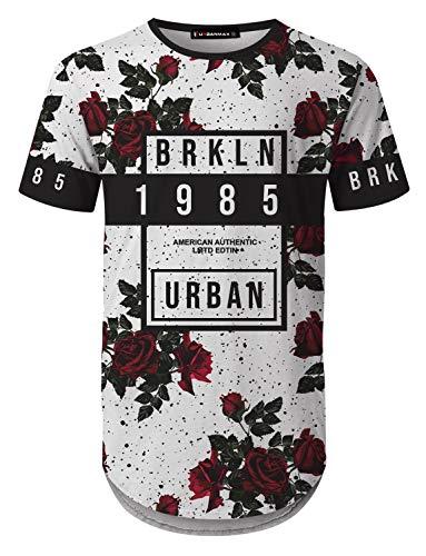 UrbanMax Mens Streetwear Hipster Floral Printed Longline T-Shirts