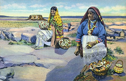 Acoma Pueblo, New Mexico - Indian Pottery Vendors, Enchanted Mesa in Distance (24x36 SIGNED Print Master Giclee Print w/Certificate of Authenticity - Wall Decor Travel Poster)