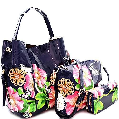 Le Miel 3pc Glossy Garden Print: Hobo, Inner Bag/Crossbody, Wallet (Navy)