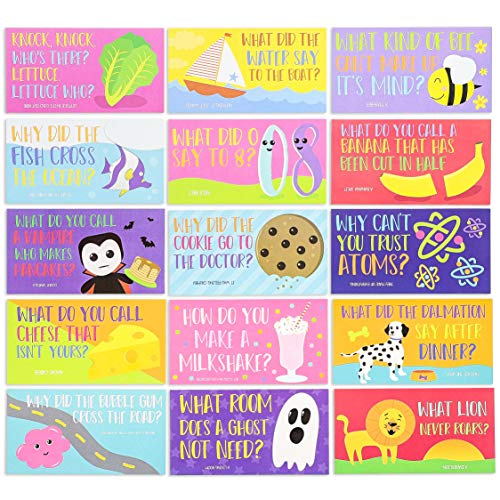 Juvale 60-Pack Kids Funny Lunch Box Note Cards with Riddles, Jokes, and Puns, Single Sided, 60 Designs