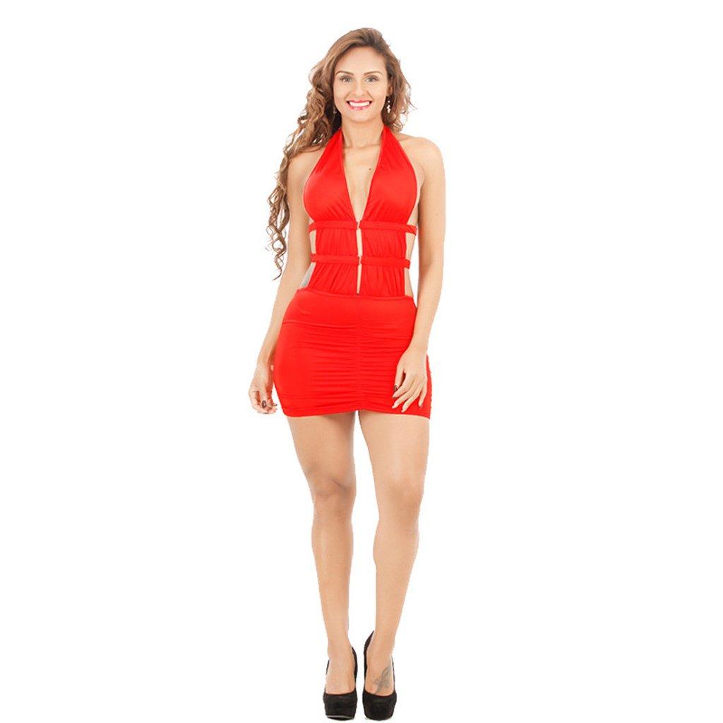 Tentación extrema Vestido de Club Sexy de Europa y Estados Unidos, Falda de Seda Ajustada (Color : Rojo, Tamaño : Código Promedio): Amazon.es: Hogar