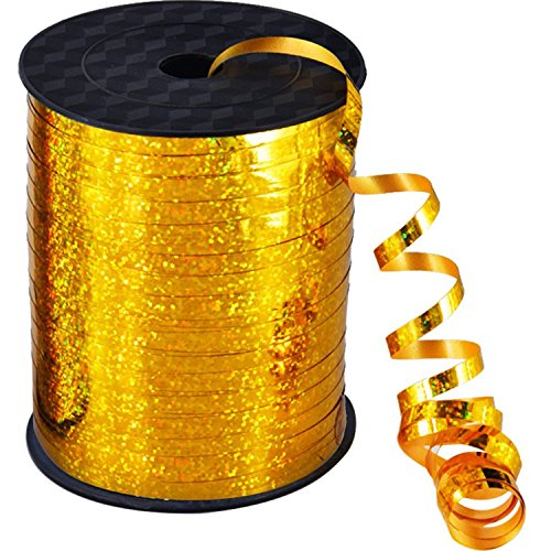 Willbond 500 Yards Curling Ribbon Metallic Balloon Roll for Party Festival Art Craft Decor and Wrapping (Gold)