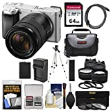 Sony Alpha A6300 4K Wi-Fi Digital Camera & 18-135mm Lens (Silver) with 64GB Card + Lenses + Battery + Charger + Tripod + Kit