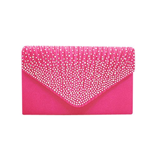 Satin Diamante Hot Evening Bridal 1pc Ladies Clutch Ladies erthome Pink Large Handbag Bag CfxAXq
