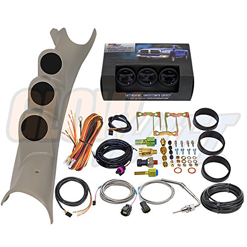 GlowShift Diesel Gauge Package for 2003-2009 Dodge Ram Cummins 1500 2500 3500 - Tinted 7 Color 60 PSI Boost, 1500 Pyrometer EGT & 30 PSI Fuel Pressure Gauges - Factory ()