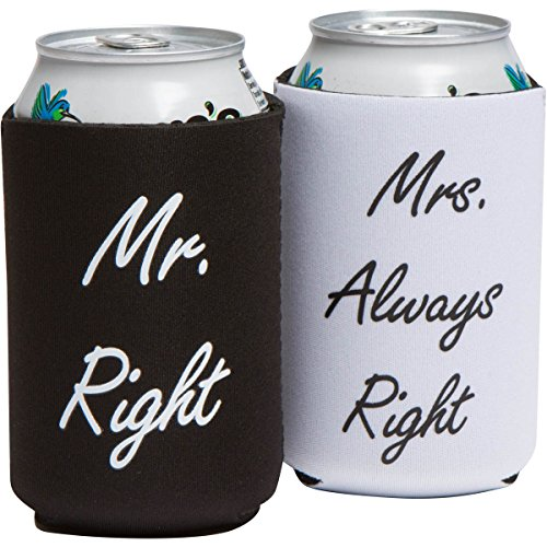 Funny Wedding Gifts – Mr. Right and Mrs. Always Right Novelty Can Coolers – Engagement Gift or Anniversary Gift for Newlyweds or Couples