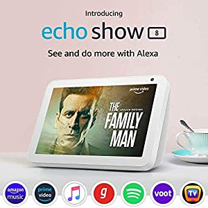 "Introducing Echo Show 8 – Smart display with Alexa - 8"" HD screen with stereo sound – White"