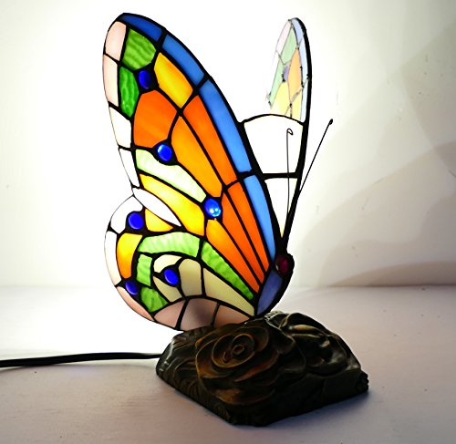 LDGJ Butterfly Tiffany Style Stained Glass Accent Table Lamp (Multi-colored F) (RED) ()