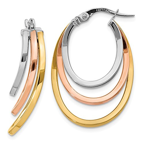 6mm x 27mm 14k Tri-Color Gold Polished Triple Oval Hoop Earrings ()