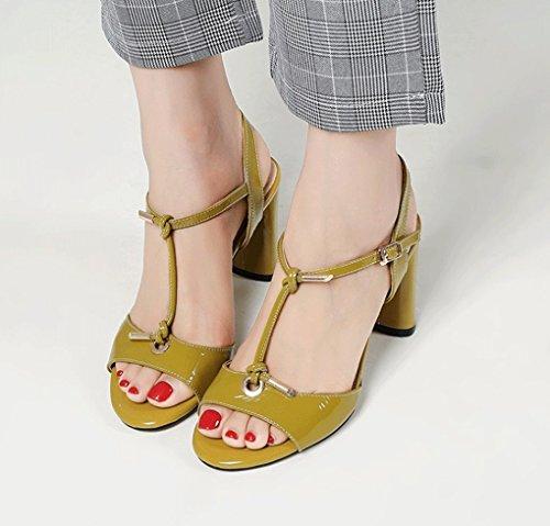 Tacco Sandali Aperti Color GLLX Sandali Sexy Donna Vera con Pelle Giallo da in HJHY® Cuoio Sandali Spesso Estivi wZF8Uqx