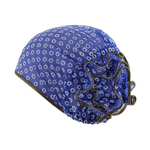 JYS365 Fashion Muslim Hair Soft Flower Breathable Women Headband Cover Beanie Hair Wrap Cap Sapphire Blue