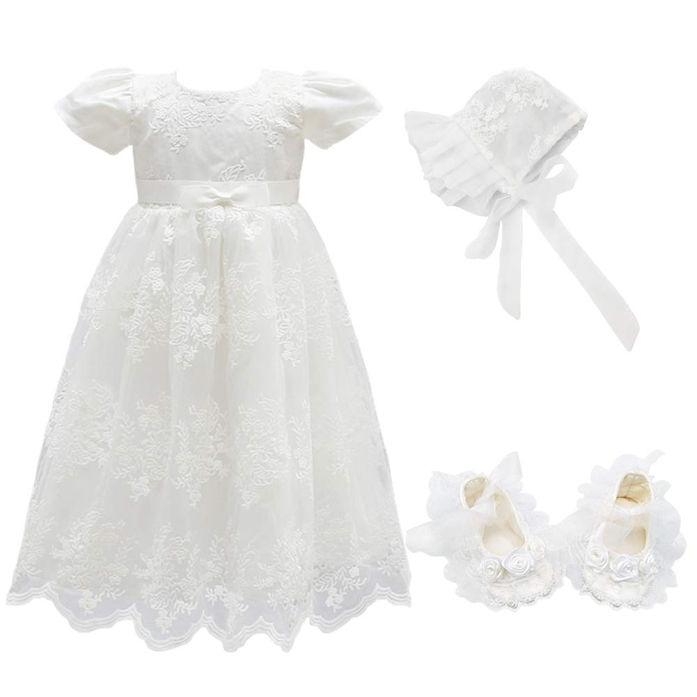 Glamulice Baby Girls Flower Christening Baptism Dress Formal Party Special Occasion Dresses for Toddler (3-6 Months, Off White-3pcs)
