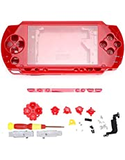 Game Console Shell, Replacement Controller Skin Game Controller Protective Case with Screwdriver, Button Kit for PSP1000 Console.(Red)