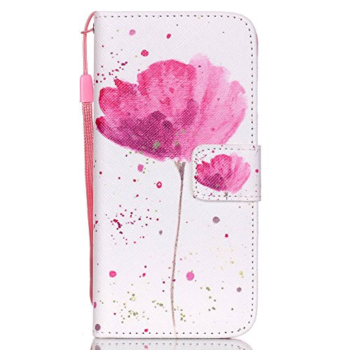 iPhone 6S Case, iPhone 6 Case, Alkax Kickstand PU Leather Wallet Case Flip Shockproof Folio Cover & Soft TPU Bumper with Credit Card Holder Slot Wrist Strap for Apple iPhone 6S (Pink Flower Pattern) (Cover Flowers Pink)