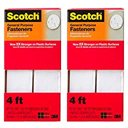 2pk 3M Scotch Permanent General Purpose 4ft Fasteners Outdoor Indoor Mounting Strips Tape