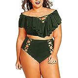 ZOMUSA Hot Sale Women Two Piece Plus Size Swimwear Solid Bathing Ruffle Beachwear Swimsuit (Army Green, XL)