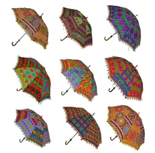 (Indian Handmade Designer Cotton Fashion Multi Colored Umbrella Embroidery Boho Umbrellas Parasol 10 Pcs Lot)