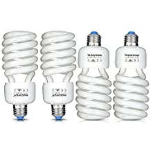 Neewer® 35W 110V 5500K Tri-phosphor Spiral CFL Daylight Balanced Light Bulb in E27 Socket for Photo and Video Studio Lighting(4 Pack)