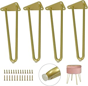 Heavy Duty Hairpin Furniture Leg 10 inch 4pcs Set Gold Metal Legs with Screws & Floor Protectors,DIY Projects for Coffee Table,End Tables,Bench,Sofa (10Inch)
