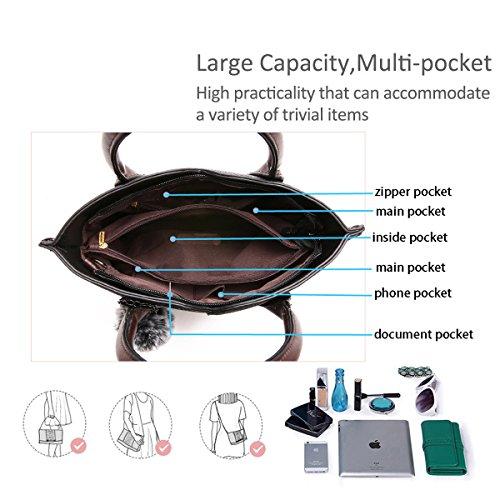 RUIREN Damen Umhängetasche Multifunktionstaschen, Schulter Handtaschen für Frauen Burgund